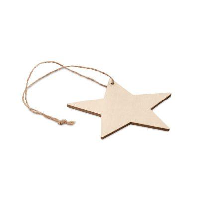 Leseni MDF okrasek v obliki zvezde z vrvico iz jute